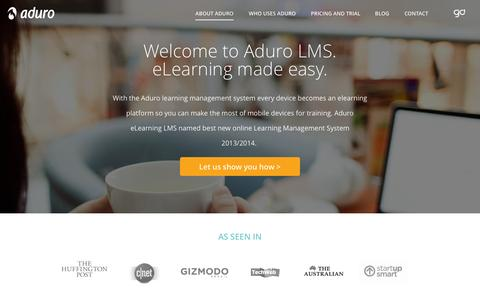 Screenshot of About Page adurolms.com - LMS - e Learning Management System | AduroLMS - captured Oct. 23, 2014