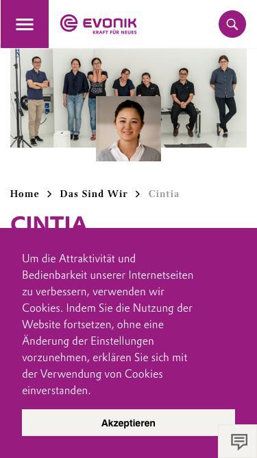 Screenshot of Team Page  evonik.com - Cintia                                                                - Evonik Careers