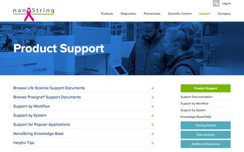 Screenshot of Support Page nanostring.com - Product Support   NanoString Technologies - captured Oct. 31, 2019