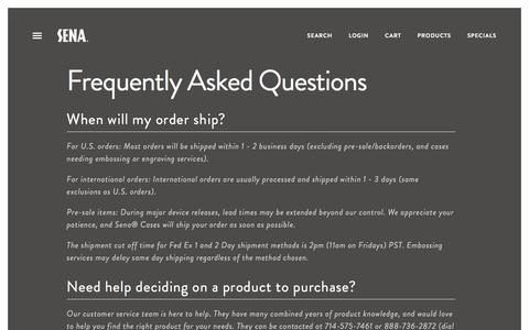 Screenshot of FAQ Page senacases.com - Frequently Asked Questions | Sena Cases - captured Feb. 18, 2016