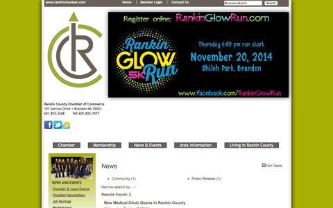 Screenshot of Press Page rankinchamber.com - News - TemplateNews - Rankin County Chamber of Commerce - captured Oct. 27, 2014