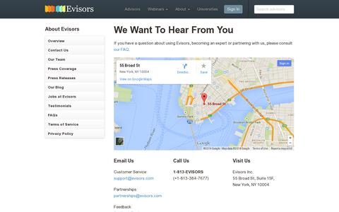 Screenshot of Contact Page evisors.com - Contact Us – Evisors - captured July 19, 2014