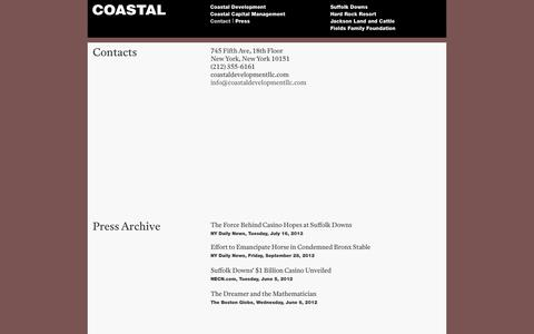 Screenshot of Contact Page Press Page coastaldevelopmentllc.com - Coastal Development LLC - Contact - captured Sept. 30, 2014