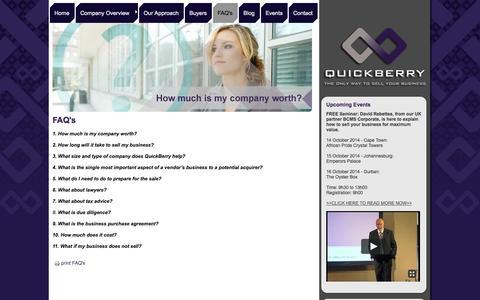 Screenshot of FAQ Page quickberry.co.za - FAQ's - captured Sept. 30, 2014