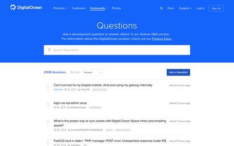 Screenshot of FAQ Page digitalocean.com - Questions & Answers | DigitalOcean - captured April 18, 2019