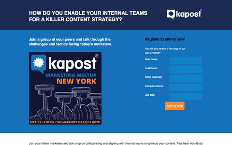 Screenshot of Landing Page kapost.com - Kapost Marketing Meetup: New York - captured March 14, 2016