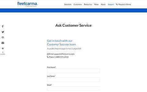 Screenshot of Support Page fleetcarma.com - Customer Support | FleetCarma - captured Aug. 15, 2018