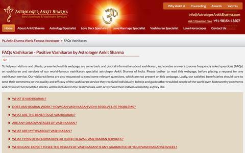 Screenshot of FAQ Page astrologerankitsharma.com - FAQ - Vashikaran and Vashikaran Services by Astrologer Ankit Sharma - captured Oct. 9, 2017