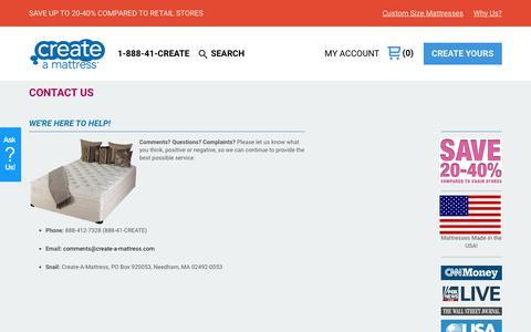 Screenshot of FAQ Page create-a-mattress.com - Contact | Create-A-Mattress.com - captured Sept. 8, 2017
