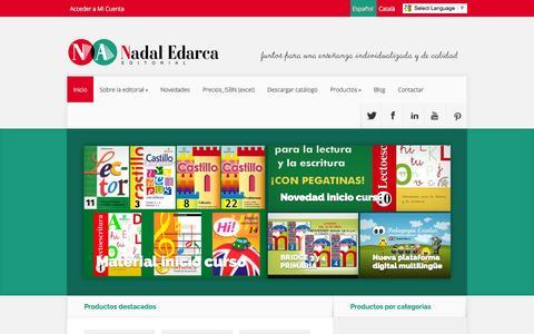 Screenshot of Home Page nadaledarca.com - Cuadernos de repaso escolar. Cuentos infantiles educativos - captured Oct. 2, 2014