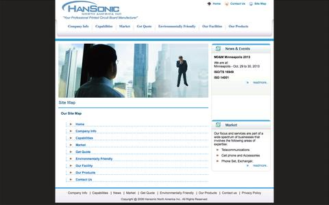 Screenshot of Site Map Page hansonic-northamerica.com - Hansonic - captured Oct. 1, 2014