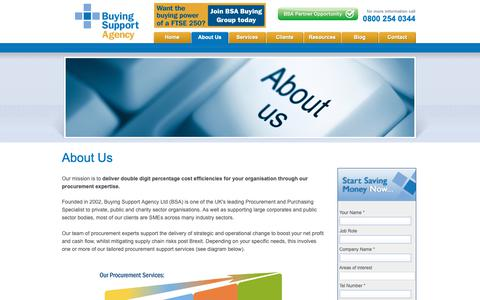 Screenshot of About Page buyingsupport.co.uk - Buying agency for advice on cutting costs and improving your procurement, including advice, training and free resources - captured Oct. 7, 2018