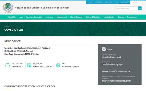 Screenshot of Contact Page secp.gov.pk - Contact Us  | SECP - captured May 25, 2017