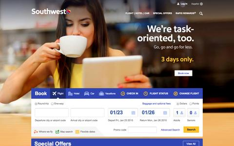 Screenshot of Home Page southwest.com - Southwest Airlines | Book Flights, Airline Tickets, Airfare - captured Jan. 22, 2015