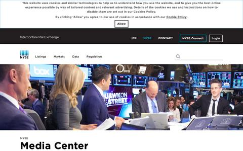 Screenshot of Press Page nyse.com - NYSE: Media Center - captured Oct. 21, 2018