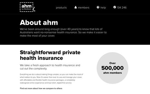 Screenshot of About Page ahm.com.au - About ahm | ahm Health Insurance - captured Sept. 22, 2014