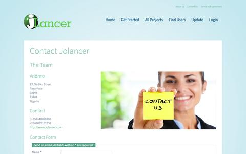 Screenshot of Contact Page jolancer.com - Contact Us - captured Sept. 16, 2014