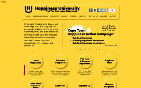 Screenshot of Home Page happiness-university.org - Happiness University - captured Dec. 7, 2015