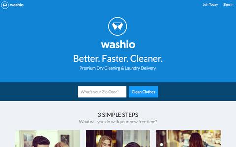 Screenshot of Home Page getwashio.com - Washio | Dry Cleaning and Laundry Delivered - captured May 12, 2015