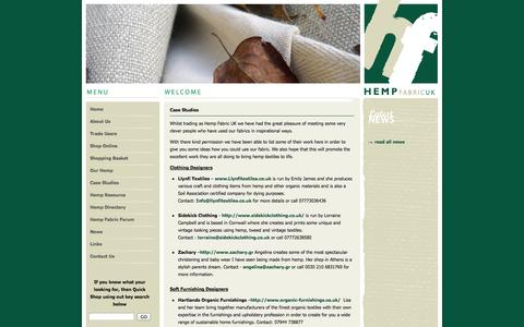 Screenshot of Case Studies Page hempfabric.co.uk - Hemp Fabric Case Studies - captured Oct. 2, 2014