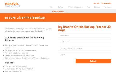 Screenshot of Trial Page resolve.co.uk - Secure UK Online Backup - captured Dec. 16, 2016