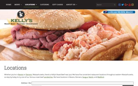 Screenshot of Locations Page kellysroastbeef.com - Locations | Massachusetts – Kelly's Roast Beef | Kelly's Roast Beef - captured June 9, 2017