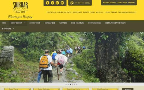 Screenshot of Home Page shikhar.com - India Travel Agency | India Travel Agents | Holiday Packages In India | Indian Tour Operator | Travel Agency in India - captured Sept. 1, 2015