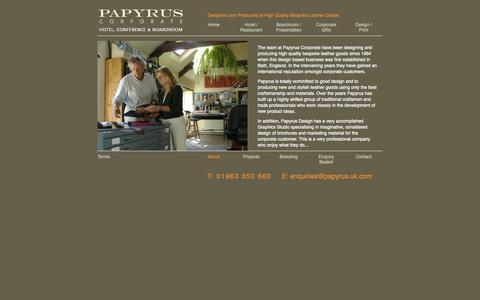 Screenshot of About Page papyrus.uk.com - Bespoke Leather Goods, High Quality Leather Goods by Papyrus - captured Oct. 1, 2014