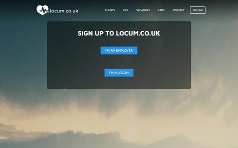 Screenshot of Signup Page locum.co.uk - Sign Up - captured Nov. 11, 2018