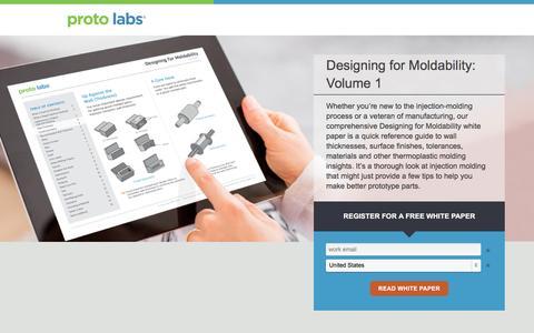 Screenshot of Landing Page protolabs.com - Designing for Moldability: Volume 1 - captured Sept. 30, 2016