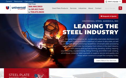 Screenshot of Home Page universalsteelamerica.com - Steel Plate Distributor - Carbon & Alloy Plates | Universal Steel America - captured Oct. 20, 2018