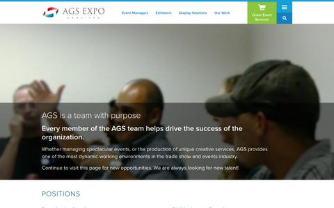 Screenshot of Jobs Page ags-expo.com - Join Our Team | AGS Exposition Services - captured Nov. 2, 2014