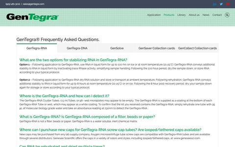 Screenshot of FAQ Page gentegra.com - FAQ – Gentegra - captured Sept. 27, 2018
