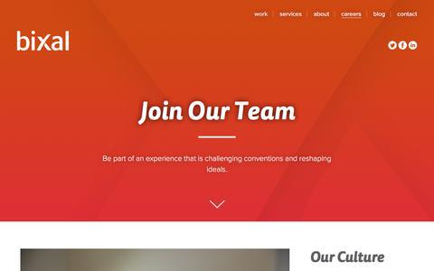 Screenshot of Jobs Page bixal.com - Join Our Team | Bixal - captured June 1, 2017