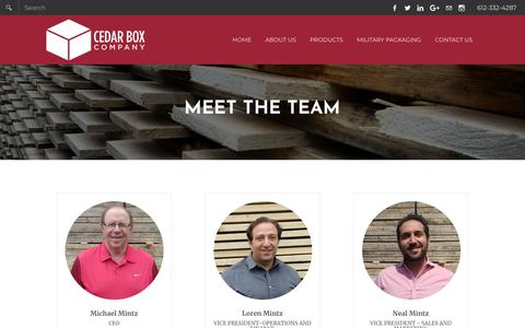 Screenshot of Team Page cedarboxcompany.com - Meet the Team - Cedar Box Company - captured July 16, 2018