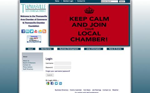 Screenshot of Login Page thomasvillechamber.net - Login - Thomasville Area Chamber of Commerce - captured Oct. 7, 2014