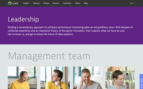 Screenshot of Team Page ruxit.com - Leadership | Ruxit - captured Dec. 16, 2014
