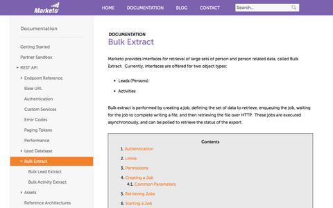 Screenshot of marketo.com - Bulk Extract - Marketo Developers - captured June 21, 2017