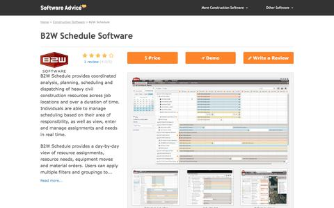 B2W Schedule Software - 2018 Reviews, Free Demo & Pricing