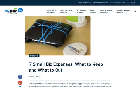 Screenshot of Blog freshbooks.com - 7 Small Biz Expenses: What to Keep and What to Cut | FreshBooks Blog - captured Dec. 5, 2017