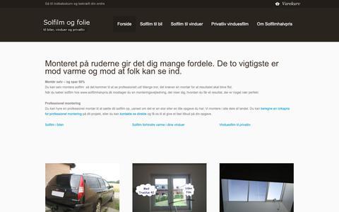 Screenshot of Home Page solfilmhalvpris.dk - Solfilm til biler, Solfilm til vinduer og Privatliv vinduesfilm - captured Oct. 30, 2018