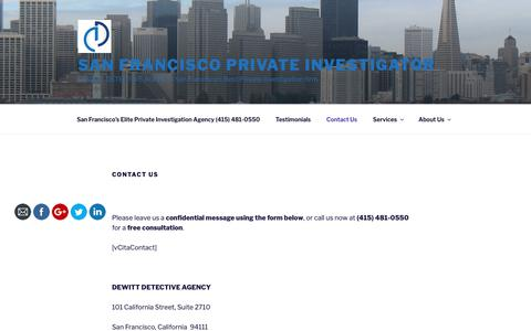 Screenshot of Contact Page sfdetective.com - Contact San Francisco Private Investigation - DeWitt Detective Agency - captured Oct. 18, 2018