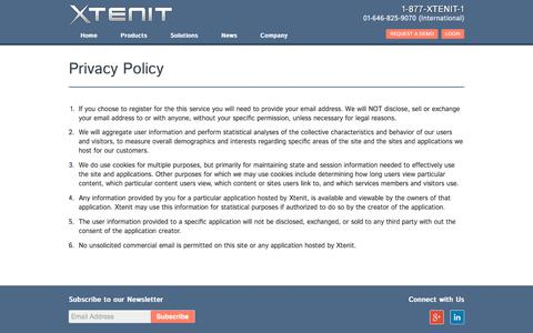 Screenshot of Privacy Page xtenit.com - Privacy Policy | Xtenit - One Platform, One Solution - captured Sept. 20, 2018
