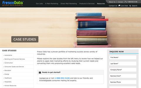 Screenshot of Case Studies Page frescodata.com - Our Featured Case Studies - Fresco Data - captured Sept. 30, 2014