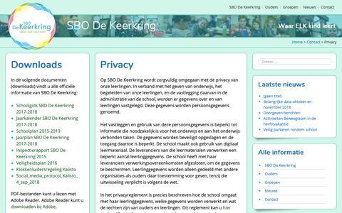 Screenshot of Privacy Page dekeerkring.nl - Privacy - SBO De Keerkring - captured Oct. 27, 2018