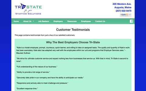 Screenshot of Testimonials Page tristatestaffing.com - Maine Staffing Agency, Temp Employment, Temp to Hire, Job Placement, Job Search, Tri-State Staffing Solutions located in Augusta Maine. - captured Oct. 20, 2018