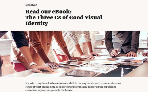 Screenshot of Landing Page monotype.com - The Three Cs of Good Visual Identity eBook   Monotype - captured Feb. 5, 2017