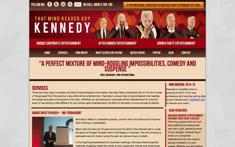 Screenshot of Services Page mindofkennedy.co.uk - Speaking & Entertainment Services | Mind of Kennedy | Unique Corporate Entertainment Ideas From Mind Reader Kennedy - captured Oct. 26, 2014
