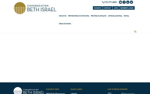 Screenshot of Privacy Page beth-israel.org - Privacy Policy - Congregation Beth IsraelCongregation Beth Israel - captured Sept. 29, 2018