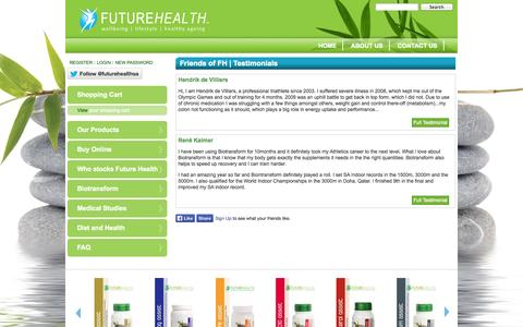 Screenshot of Testimonials Page futurehealthsa.co.za - Friends of FH | Testimonials | Futurehealth - captured Oct. 6, 2014